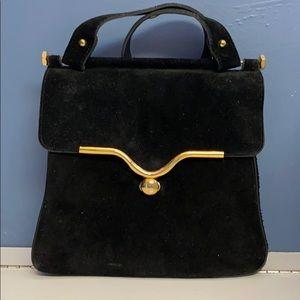 Vintage Antique  suede and leather handbag